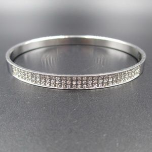 Vintage Silver Tone Crystal Face Bangle Bracelet